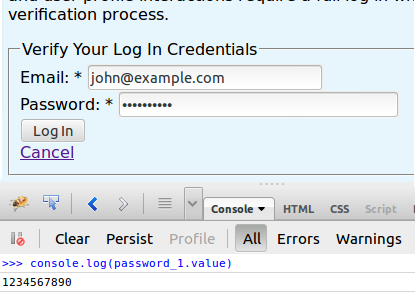 Enter an email and password, then write the password in the Firebug console